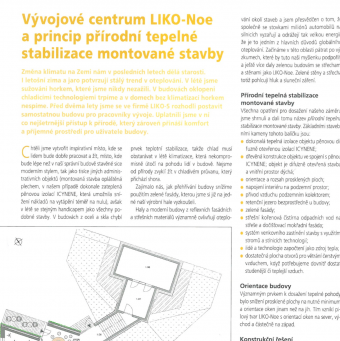 LIKO-Noe's R&D centre and natural thermal stabilization of a prefabricated building principles